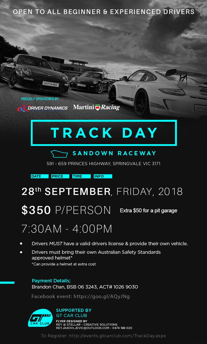 AFL Public Holiday GTCC Track Day Flyer